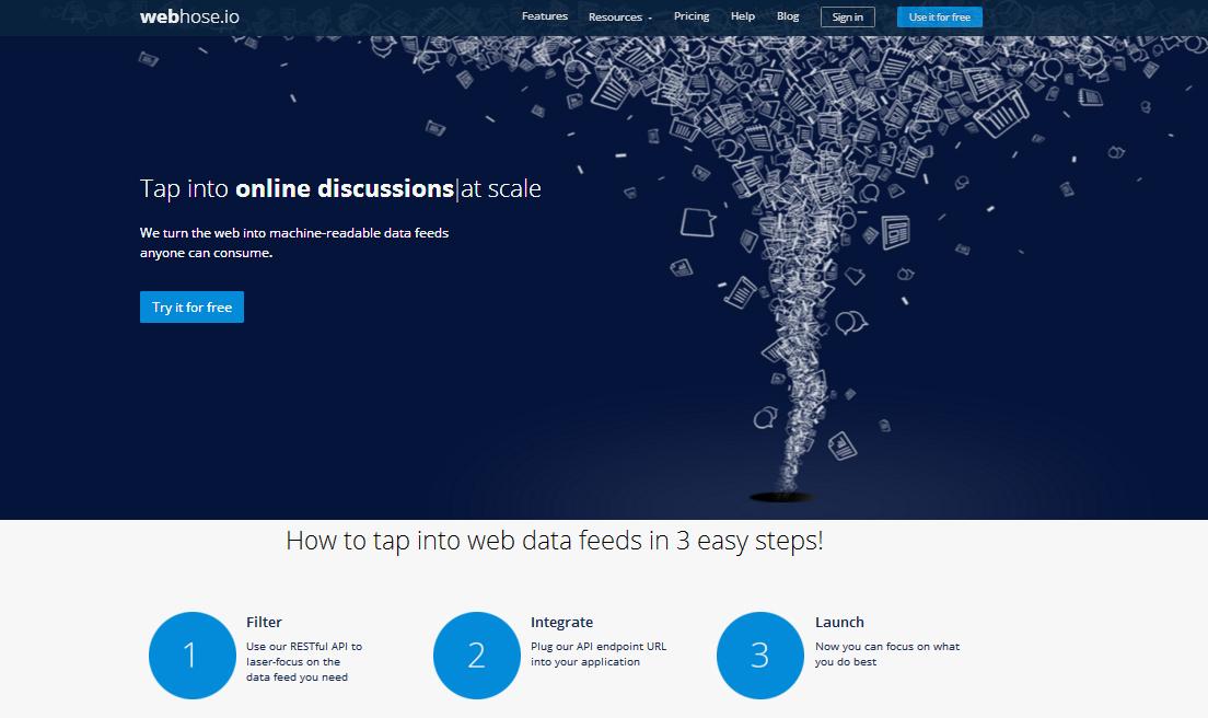 Plataforma data scrapin - Web hose io