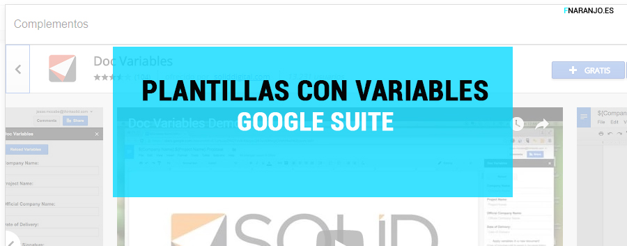 Trucos productividad Google Suite. Plantillas con variables